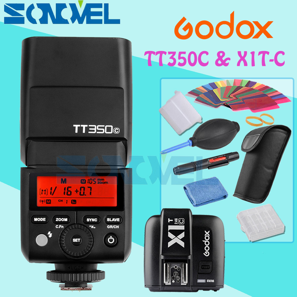 GODOX Mini TT350C TTL HSS max 1/8000s 2.4G Wireless X System Flash with X1T-C Transmitter for Canon PowerShot G7X G5X G3X SX60 сумка чехол canon powershot dcc 1870 for g7x