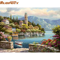 RUOPOTY Frame Harbor Seascape Diy Painting By Numbers Kit Acrylic Paint On Canvas Handpainted For Home Wall Art Picture 40X50