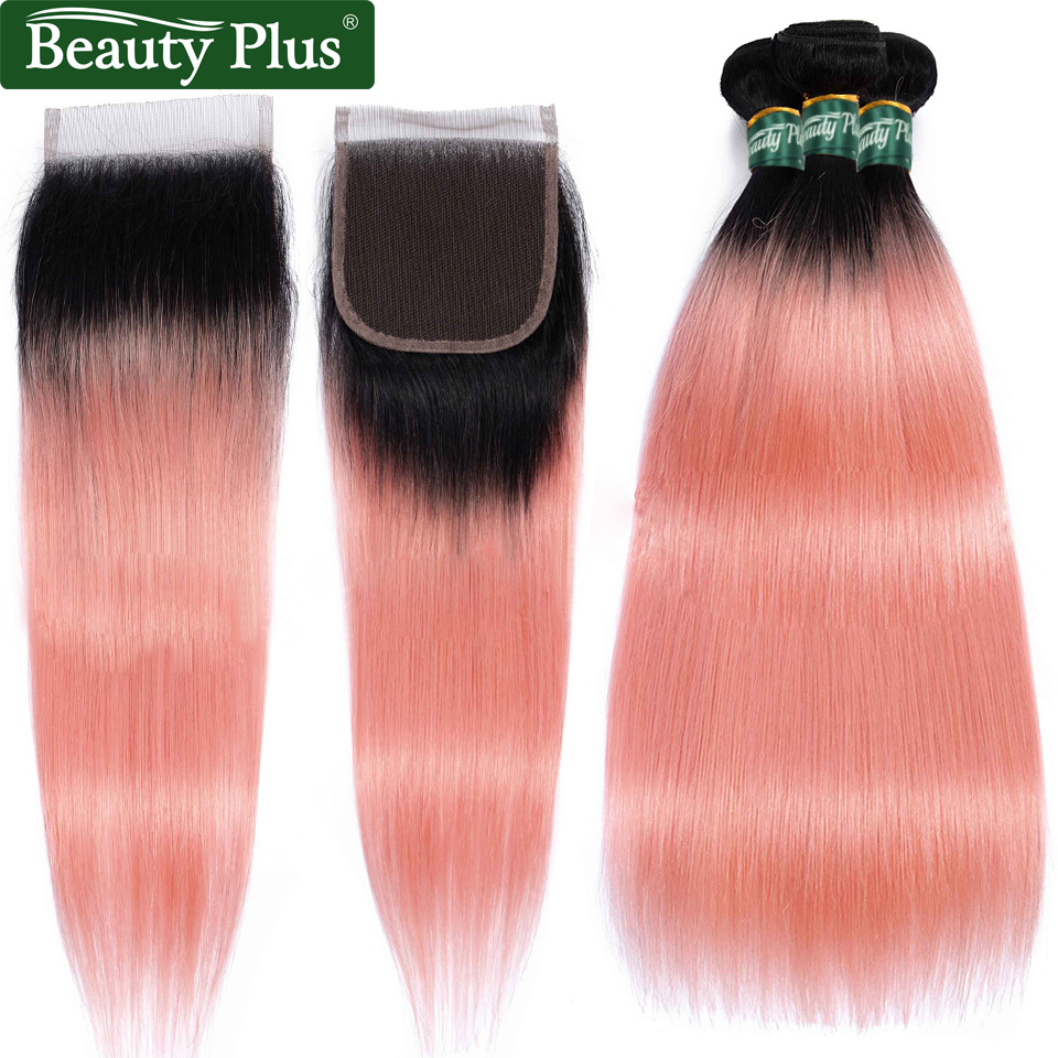 Pink Bundles With Closure Straight Ombre Bundles With Closure Inch Brazilian Hair Weave Bundles Beauty Plus Remy Human Hair