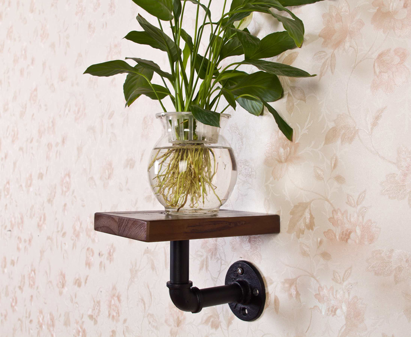 ФОТО 2015 American Vintage Loft Industrial Water Pipe Bookshelf Towel Toilet Shelf Holder Stand With Wood Bathroom Accessory
