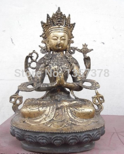 shitou 00575 12 China bronze gild carved four armed Kwan-yin buddha Sculpture Statueshitou 00575 12 China bronze gild carved four armed Kwan-yin buddha Sculpture Statue