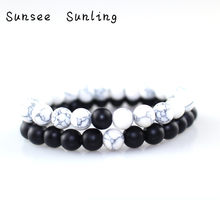 2019 2pcs/set 8mm White Howlite Stone and Volcanic Rock Lava Stone Beads Women Bracelets Set for Women Men Stretch Jewelry Gift(China)