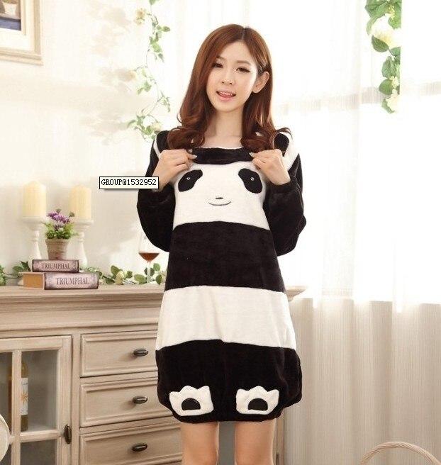 Flannel sleepwear Autumn winter cartoon panda sweet coral fleece long-sleeve flannel lounge princess nightgown women - Robber store
