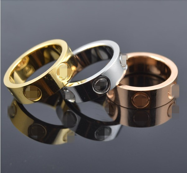 top classic design famous brand 6mm gold color lovers wedding band love ring for women men valentines day present
