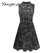 Vestods Summer Style 2017 Women Dress Black Starry Sky Printed Casual High Waist Cute A Line Mini Dress