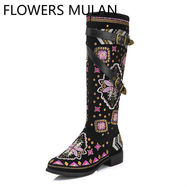 Rivets Femmes Boucle Chaussures D'hiver Bout Noir Fleurs Ceinture Femme Bottes En Talon Chunky Broder Mixte Couleur Daim Rond Papillon zwCpW6q