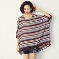 VERMELHO/AZUL Listrado tassel chiffon camisas de maternidade 2016 moda verão longo soltas t-shirt mulheres grávidas batwing blusa mais tamanho