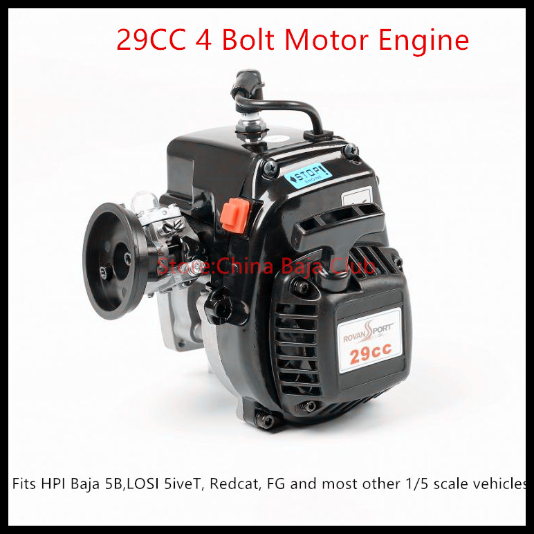 29cc 4 Bolt Motor Engine with Carburetor Spark plug Clutch Fits HPI Baja 5B,LOSI 5iveT, Redcat, FG and most other 1/5 vehicles 4 bolt 32cc engine and walbro 813 ngk spark plug metal clutch fits hpi baja 5b losi 5ivet redcat fg