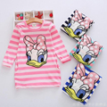New 2016 summer autumn girl dress stripe Cartoon Cute hello kitty dresses Side 2 pockets cotton Vestidos girls clothes costume