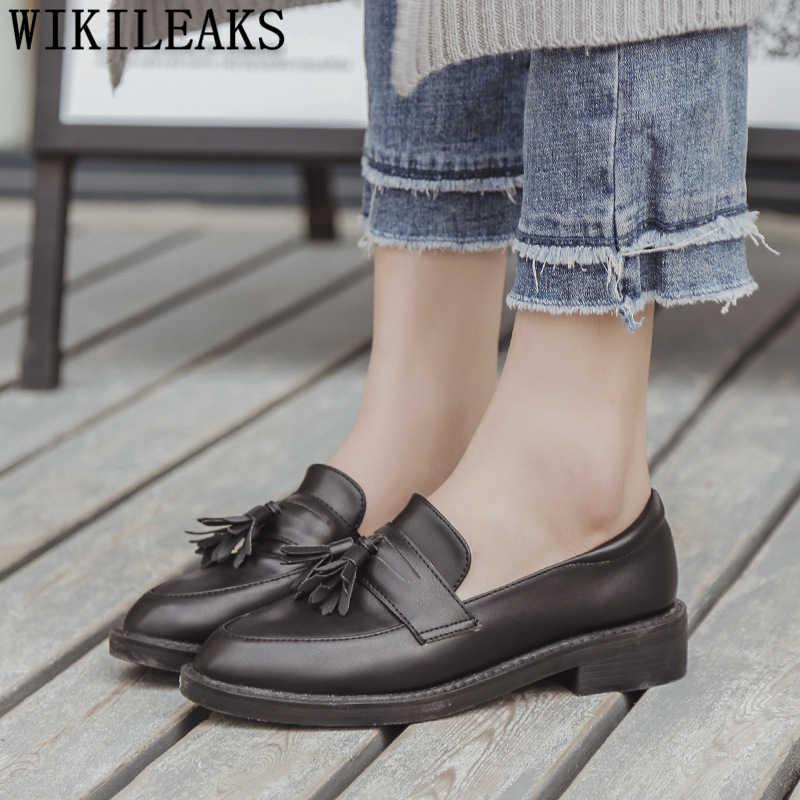 Harajuku ayakkabı loafer'lar kadın saçak siyah ayakkabı kadınlar için düz ayakkabı kadın moda rahat zapatos oxford mujer buty damskie