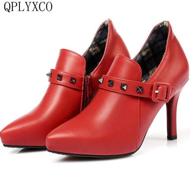 a4b42b9daad QPLYXCO 2017 New Genuine Leather Ankle Boots Big Size 30-48 Autumn winter  Women short