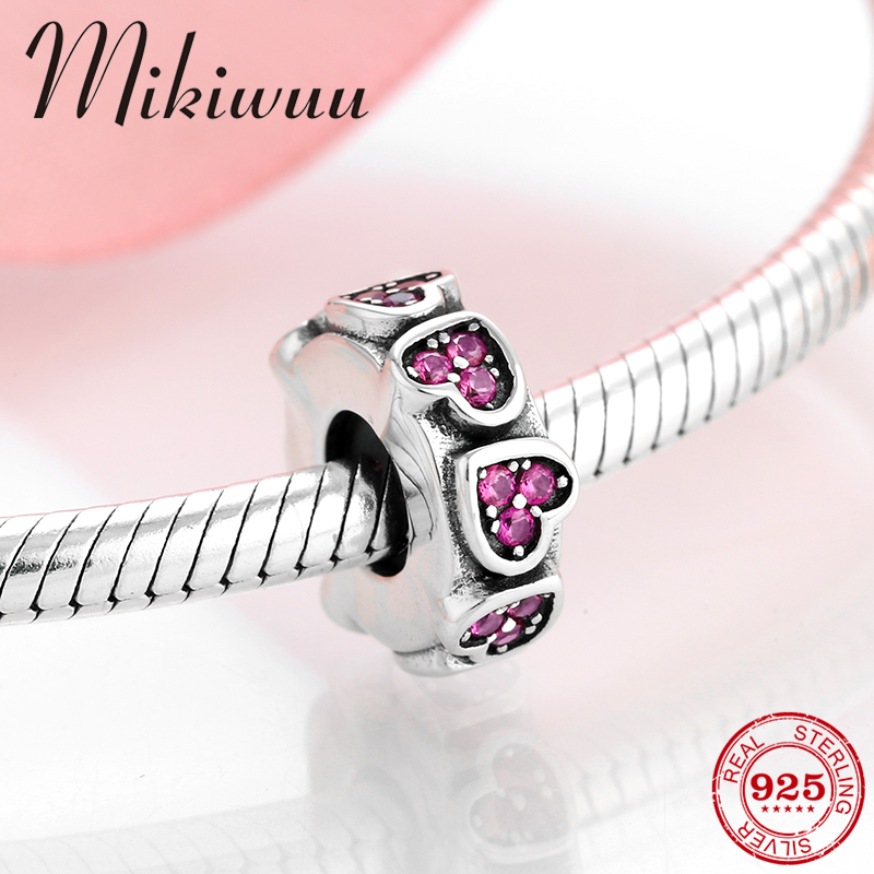 Valentine's Style 925 Sterling Silver Heart Rose Red CZ Spacer Stopper Bead Jewelry Making Fit Original Pandora Charm Bracelet