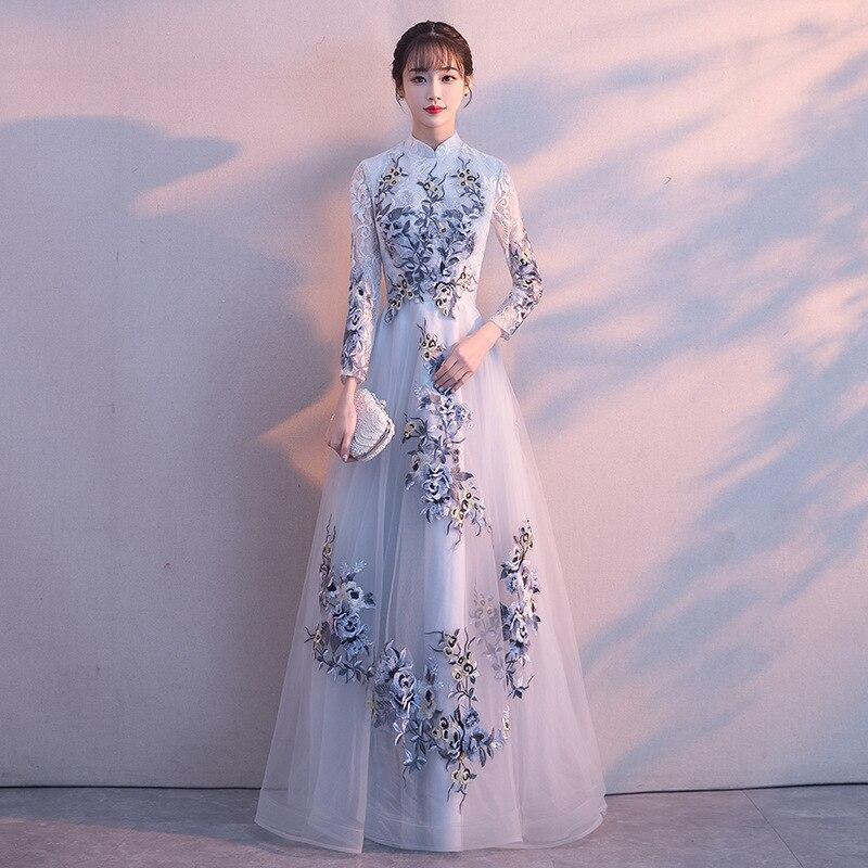 Broderie traditionnelle Floral Cheongsam élégant demi manches femmes chinoises robe de soirée Vintage Oriental mariée mariage Qipao