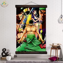 One Pieces Sword Smand Modern Wall Art Print Pop Picture And Poster Solid Wood Hanging Scroll Canvas Painting Home Decor