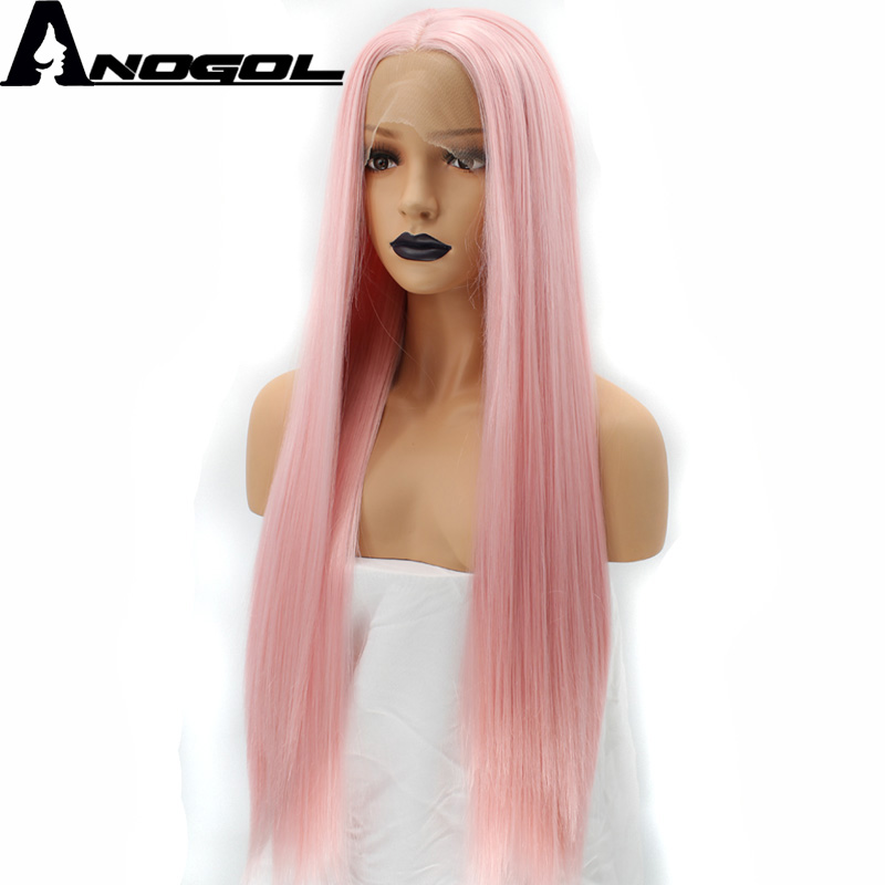 Anogol Natural Hairline High Temperature Fiber Middle Part Long Silky Straight Pink Synthetic Lace Front Wig