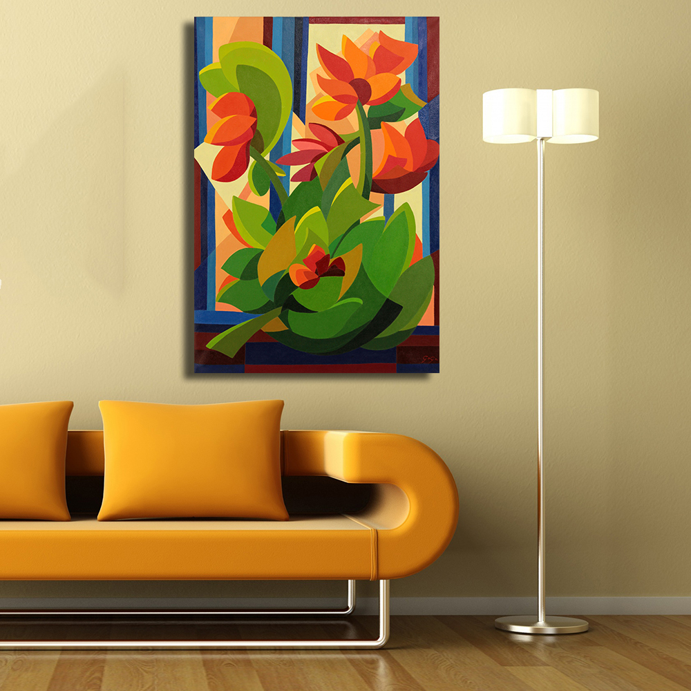 QKART Original Cubist Painting From Brazil Tropical Flowers Oil ...