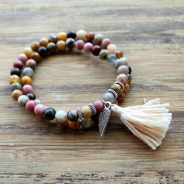 Natural Stones Bead With Wing Charm Tel Stretch Bracelets Boho Elastic Bracelet Handmade Mala