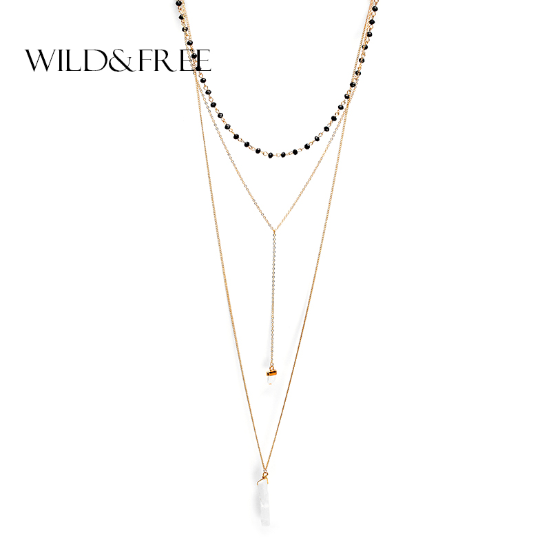 2016 fashion design gold multilayer necklace & natural stone pendant black crystal chain necklace for women цена 2017