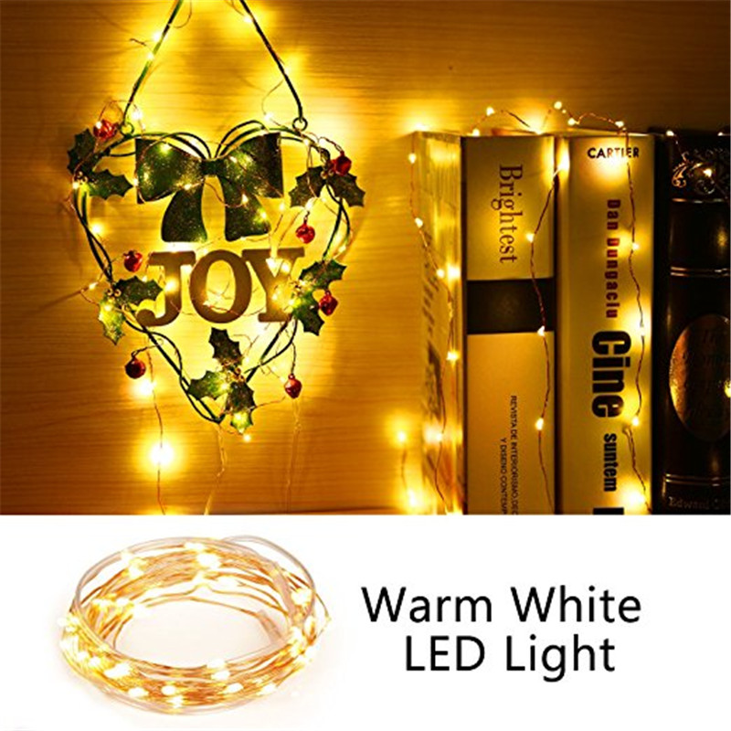 ECLH 2M 5M 10M 100 Led Strings Copper Wire 3XAA Battery Operated Christmas Wedding Party Decoration LED String Fairy Lights