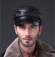 HL009 Genuine Black Lambskin Leather Baseball Sports Hat Cap gold/silver chain