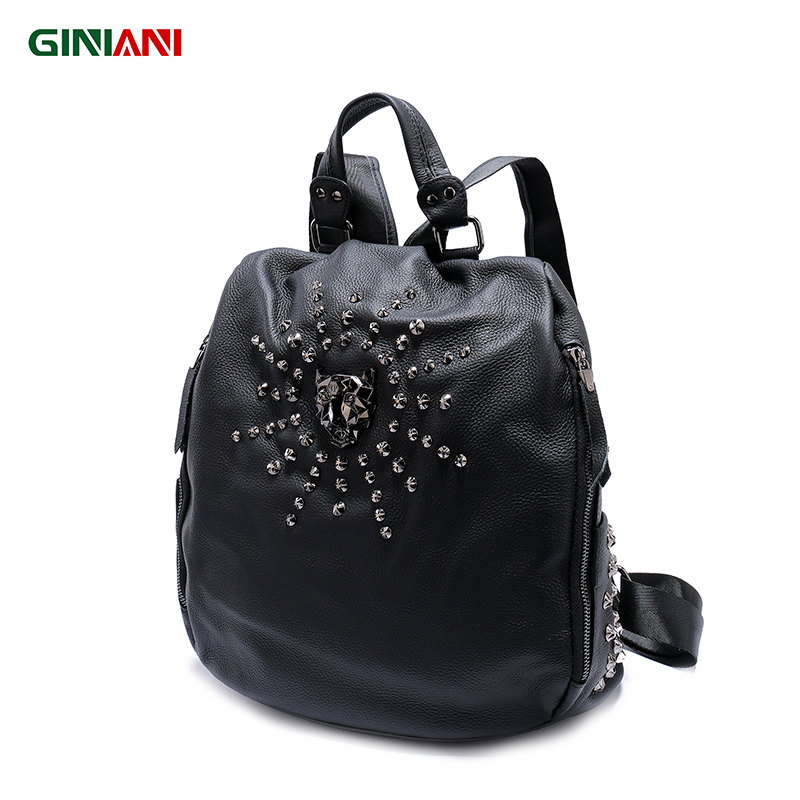 Giniani Women's Solid Black Top Cow Leather Pocket Safe Backpack Unisex Tiger Head Surrounding Sun Shape Star Rivet Rucksack