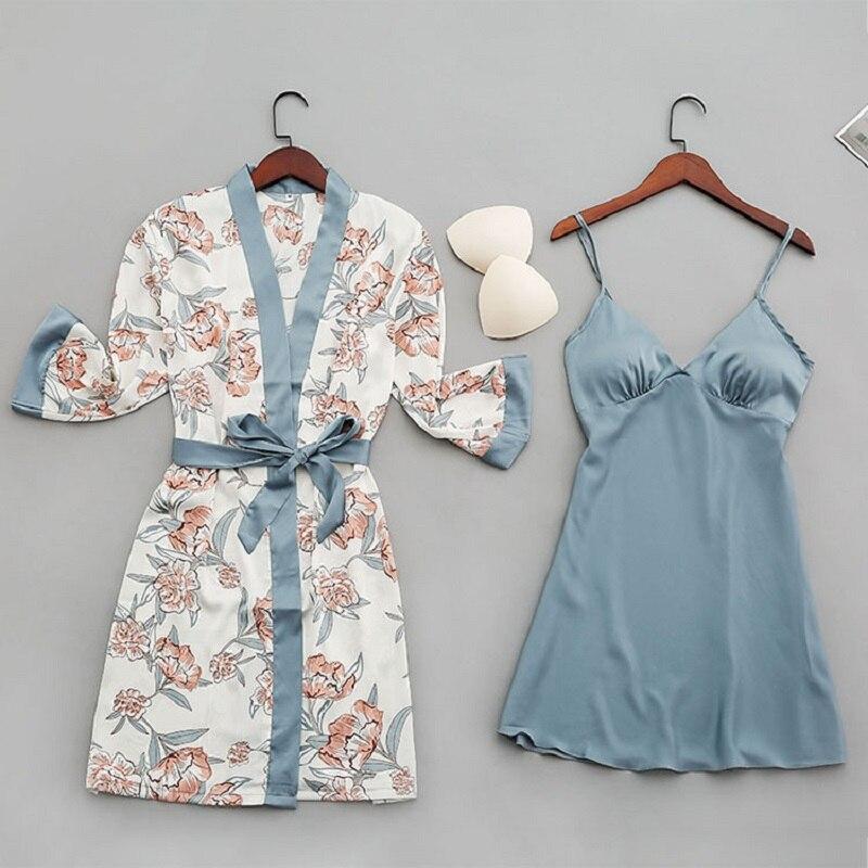Sexy Women Sleepwear Nightgown Silk Satin Pajamas Robes Lounge Pyjamas Femme With Chest Pads Homewear Pijamas Kimono Nightdress