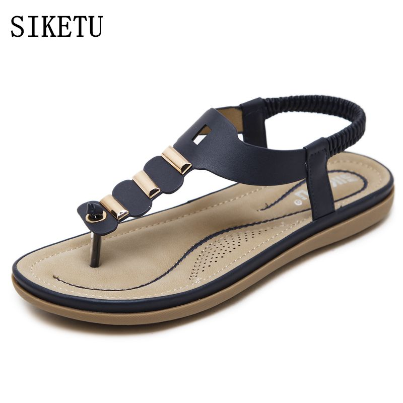 SIKETU Women Sandals 2017 Bohemia casual fashion woman soft sandals Summer New Wedge Women Flip Flops flat Beach plus size Shoes 2017 women sandals shoes sapato feminino bownot wedge flip flops fashion beach women slipper shoes bohemia women s shoes flower