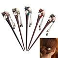 1 Pc Women Vintage Wooden Hair Stick Pin Handmade Crystal Rhinestone Flower Wood