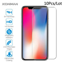 Xindiman 10pcs/lot tempered glass for iphone X XS XR XSMAX 9H 2.5D screen protector iphone4s 5 5s 6 6s 6plus 7 7plus 8 8plus