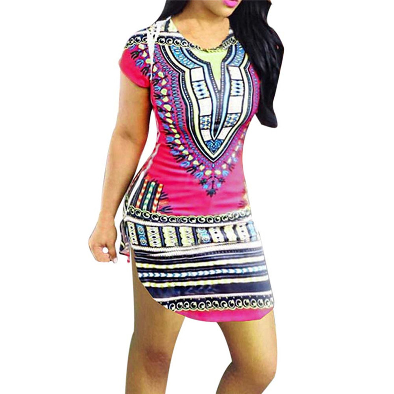 snowshine YLI Women Short Sleeve Dress National Wind African Printing Dress Silm Dress free shipping