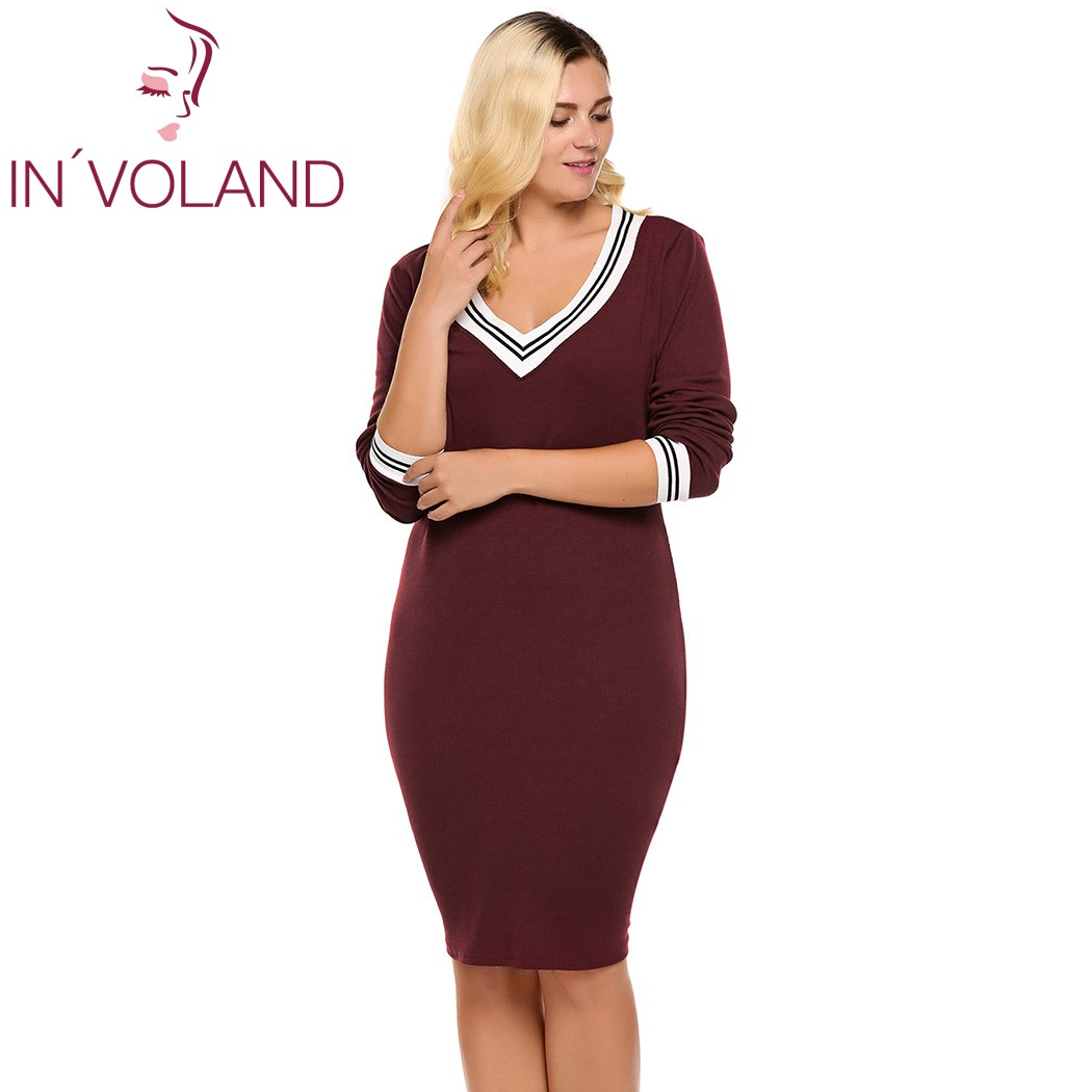 IN\'VOLAND Women\'s Sweater Dress Plus Size Deep V Neck Long Sleeve Bodycon  Pencil Knitted Pullover Autumn Knee Length Lady Dresse-in Dresses from ...