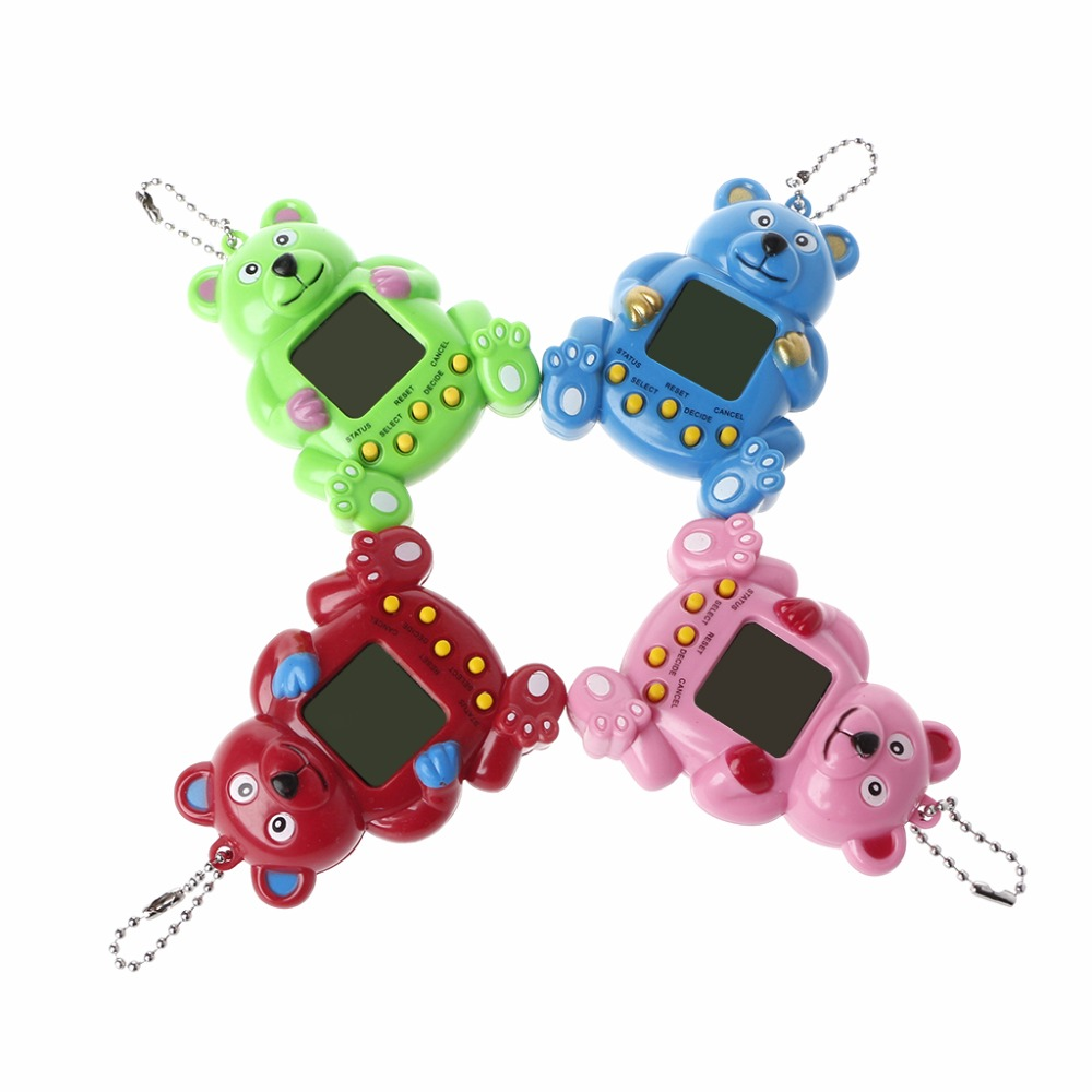 LCD Virtual Digital Pet Handheld Electronic Game Machine With Keychain Bear Shape Randomly Color #20/12