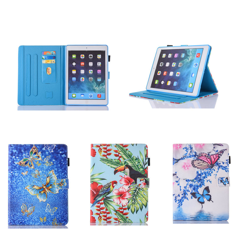 For iPad Air 2 Ipad 6 Case Cartoon Colorful Flower Butterfly PU Leather Flip Cover Cases For Apple iPad Air2  9.7 inch Tablet new luxury tablet case cover for apple ipad air 2 pu leather flip case wallet card stand cover for ipad 6 ipad air2 with holder