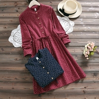 2017 New Fashion Spring Dress Temperament Cotton Linen Turn Down Collar Full Sleeve Slim High Waist