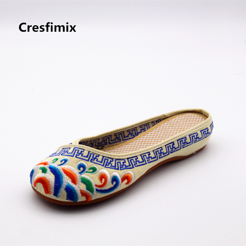 Cresfimix women cute retro dance sandal shoes lady casual ribbon slip on slippers female leisure spring & summer shoes zapatos cresfimix women casual breathable soft shoes female cute spring