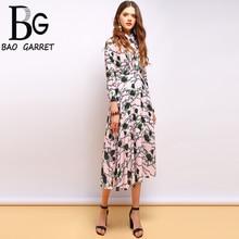 Baogarret 2019 Fashion Summer Vintage Dress Womens Three Quarter Ruffles Floral Printed Elegant Ladies Vacation Dresses