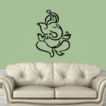 Free Shipping Indian Elephant Ganesha Silhouette Lord Wall Sticker Vinyl Mural For Home Bedroom Decoration Y-502