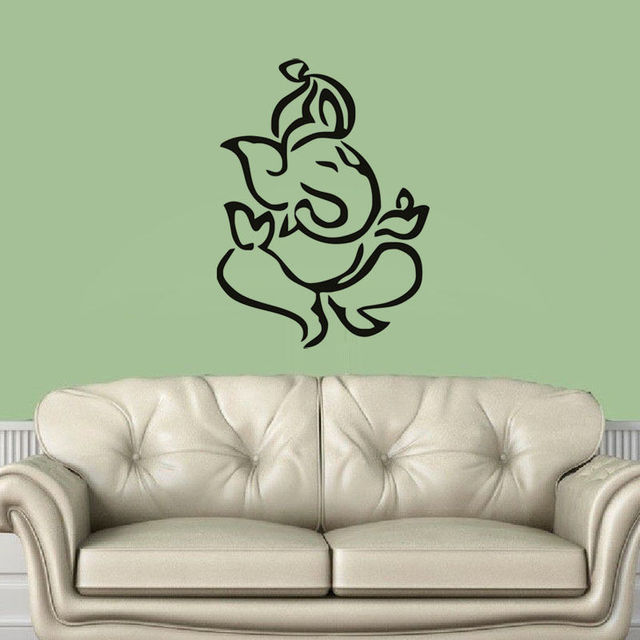 Free shipping indian elephant ganesha silhouette lord wall sticker vinyl wall mural for home bedroom decoration