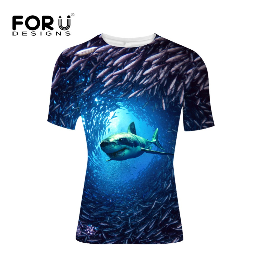 FORUDESIGNS Sea World Shark Print T shirt for Men Bodybuilding and Fitness Mens 3D tshirt Casual Tee Shirts Male Clothes Tops