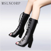 Size 34-48 Fashion new hot summer shoes high heel Gladiator Women Pumps Sandals Boot sexy Lace Up open toe Mid Calf cool boots