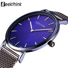 GEEKTHINK ультра тонкий Топ тонкий минимализм кварцевые часы для мужчин повседневное бизнес прохладный стиль мужской наручные