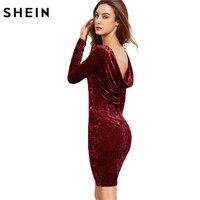 SheIn Autumn Burgundy Bodycon Dress Draped Back Velvet Womens Sexy Dresses Party Night Club Dress Long