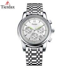 Tierdax Quartz Men Watches 2017 Luxury Brand 24 Hours System Stainless Steel Watch Band Chronograph Calendar Relogio Masculino