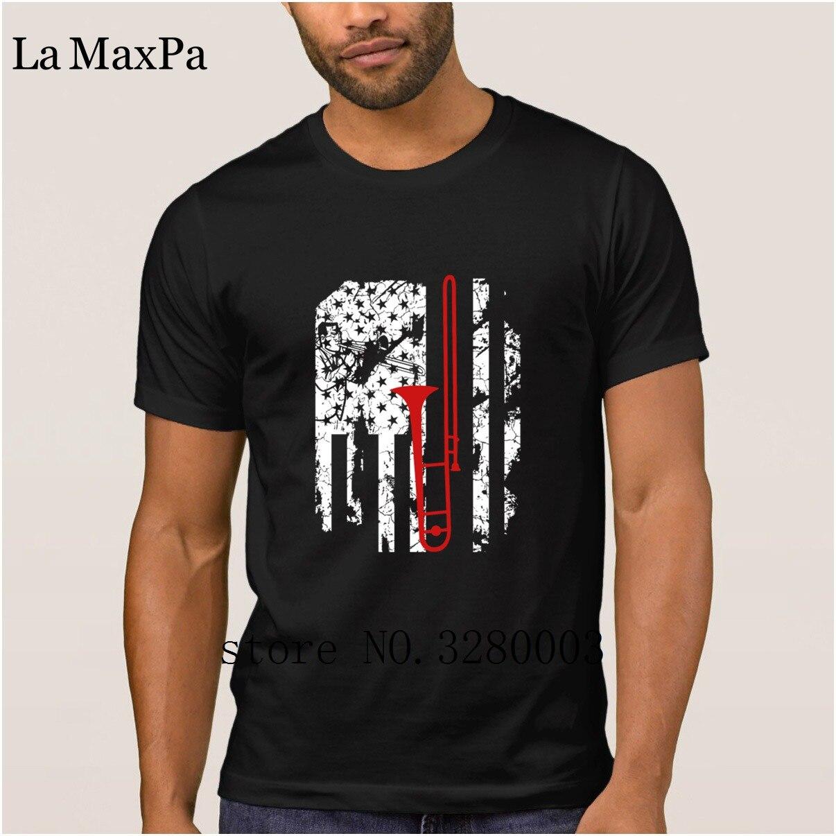 La maxpa принт Забавный Повседневное Мужская футболка тромбон флаги Мужская футболка Летний стиль для отдыха футболка Мужская Круглый Средств...