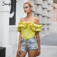 Simplee Backless Ruffle Cold Shoulder Camisole Tank Top Summer Yellow Crop Top Chemise Femme Elegant Sleeveless