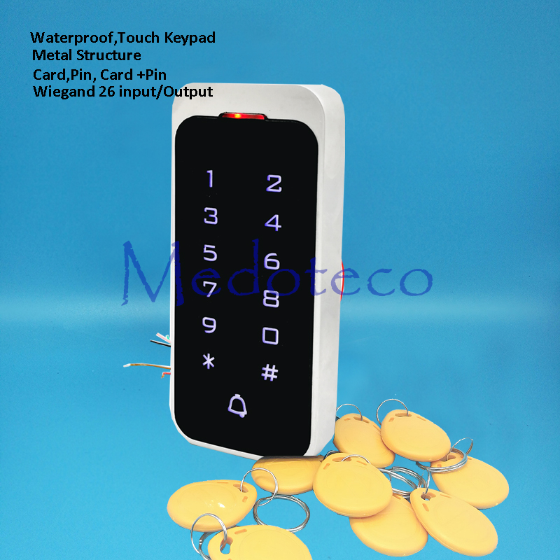 12V 24V IP65 Standalone Touch keypad Access Controller Metal Keypad RFID Door Lock Access Control System With Door Bell Function rfid standalone metal access control security keypad for door locks system