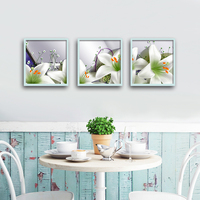 White lily flower 5d Diy full diamond painting set 3 pieces floral embroidery painting cross stitch square diamond decoration
