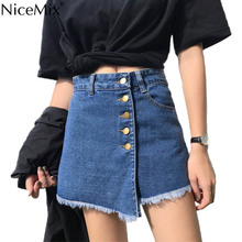 NiceMix Plus Size High Waist Skirts Womens 2019 Summer Vintage Scratches Tassel Denim Skirt Female Asymmetry Jeans Femme