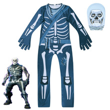 Boys Bodysuits Skull Skeleton Jumpsuit Halloween Costumes For Girls Kids 3D Printing Fortnite Cosplay Jumpsuits C078