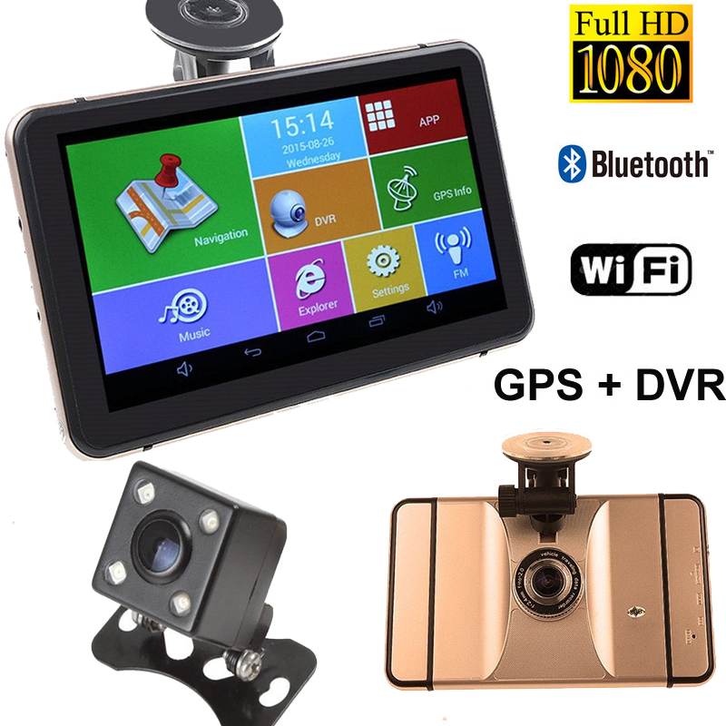 7 Car GPS Navigation DVR Recorder Camera Android 1080P 512MB 8Gb Vehicle GPS Navigator Sat Nav With Rear View Camera Free Maps 7 inch gps navigation android 512mb 8gb car dvr camera 1080p recorder truck vehicle gps free map quad core tablet pc vehicle gps